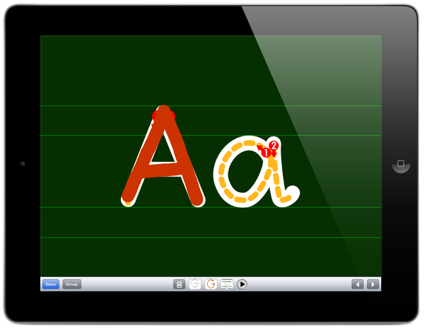 Letter Shapes drawing screen