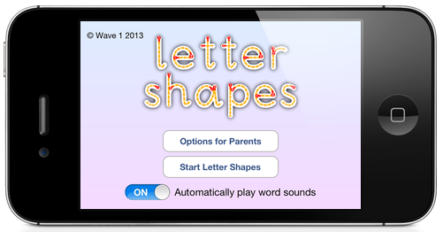 Letter Shapes main menu