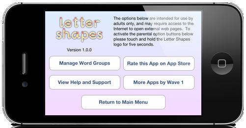 Letter Shapes options for parents